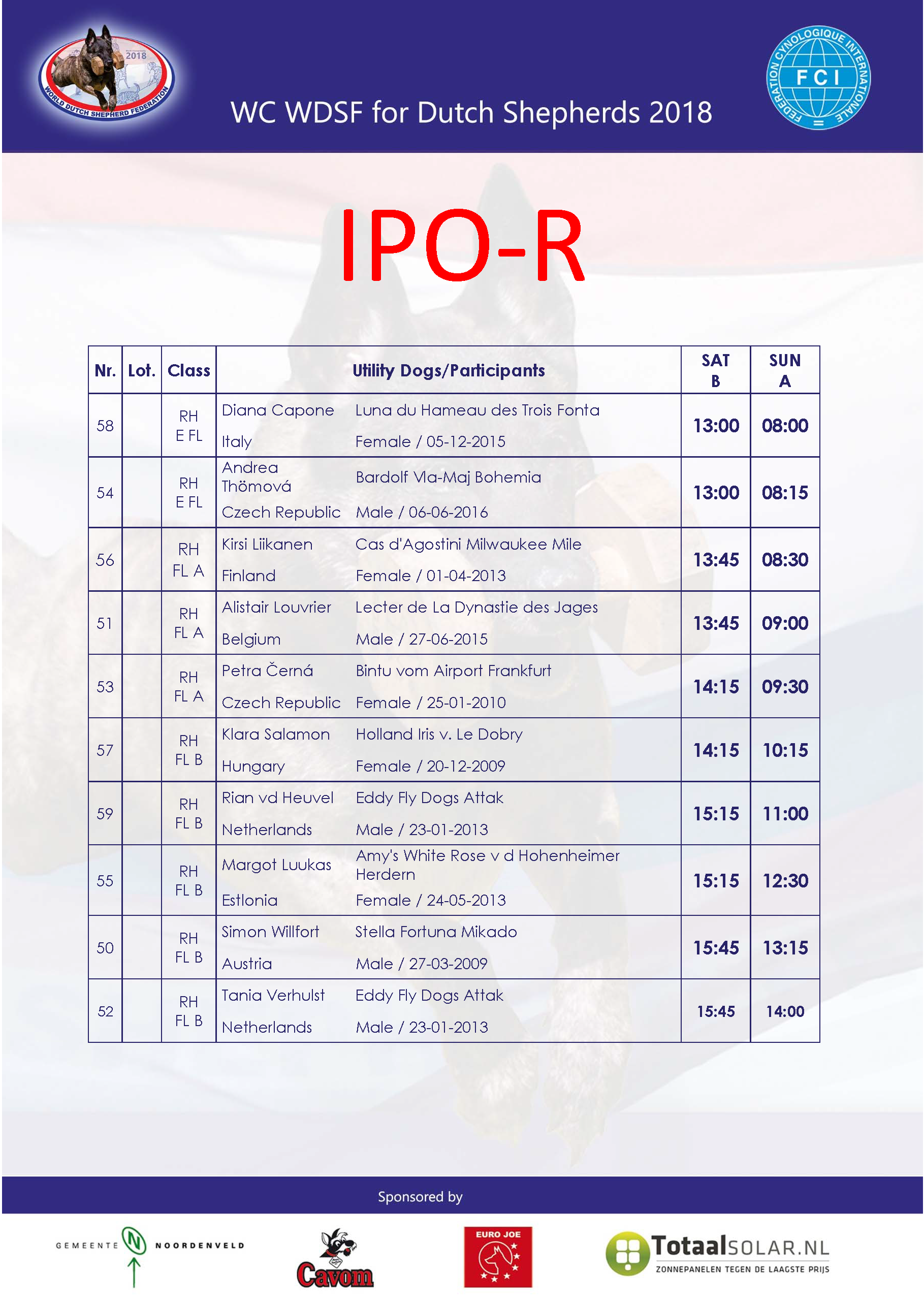 time schedule IPO R